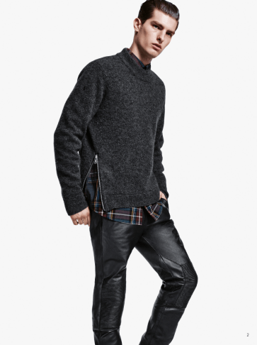 H&M Man Trend A/W14 Lookbook, 'All Black Everything'. black knitwear leather detail trousers shirt style fashion menswear lookbook collection male model