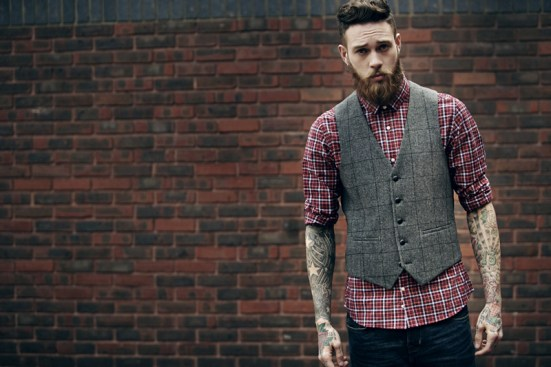 Moss Bross Debut Their 'Moss London' AW14 Menswear Collection male model tattooed bearded billy huxley