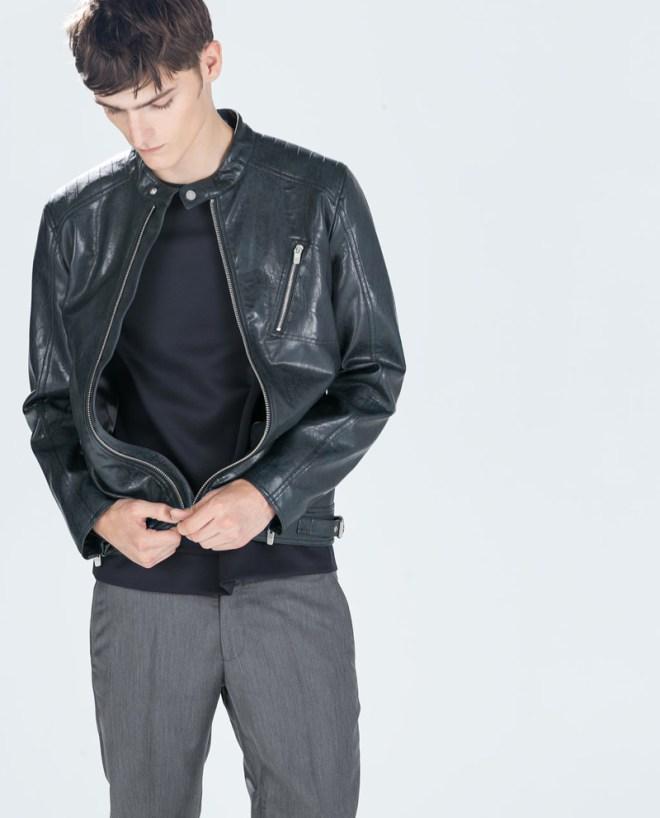 Zara Pre Fall 2014 Menswear Lookbook black leather jacket menswear mensfashion