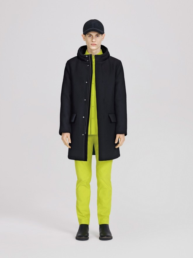 COS A/W14 Menswear Lookbook lime green trousers shirt navy zip up parka coat jacket