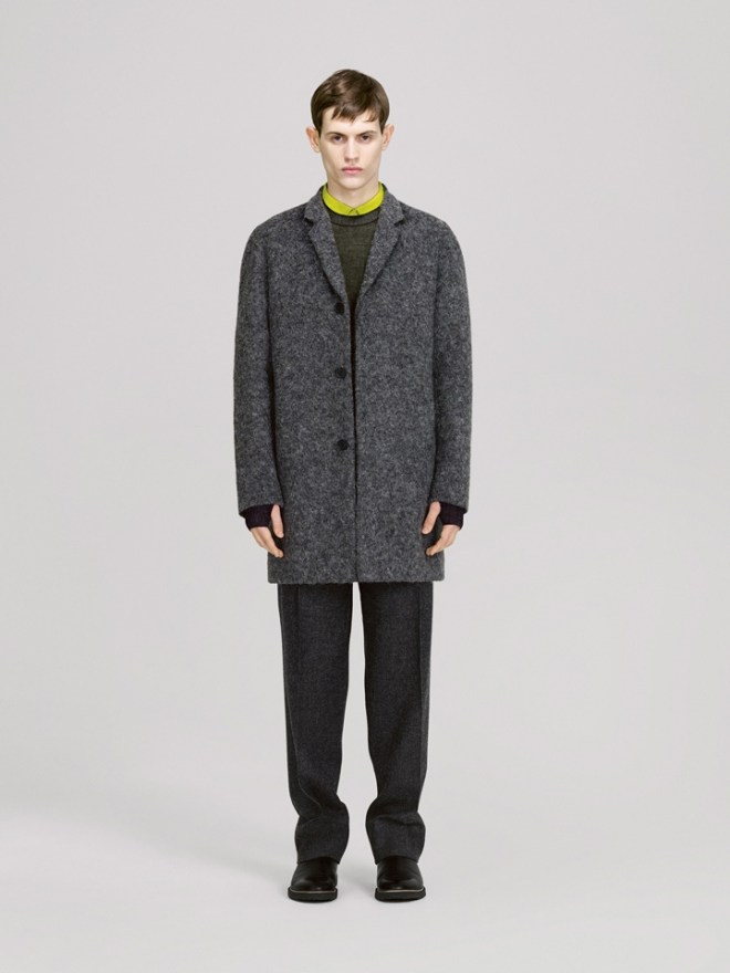 COS A/W14 Menswear Lookbook grey salt and pepper wool blend double breasted jacket coat lime green shirt forrest green jumper
