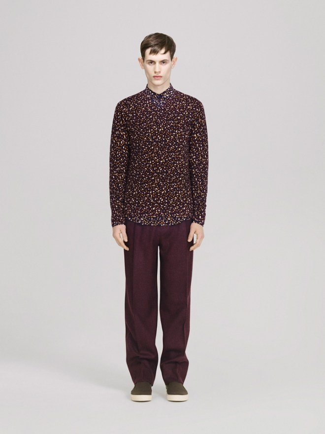 COS A/W14 Menswear Lookbook floral polka dot shirt plum formal trousers