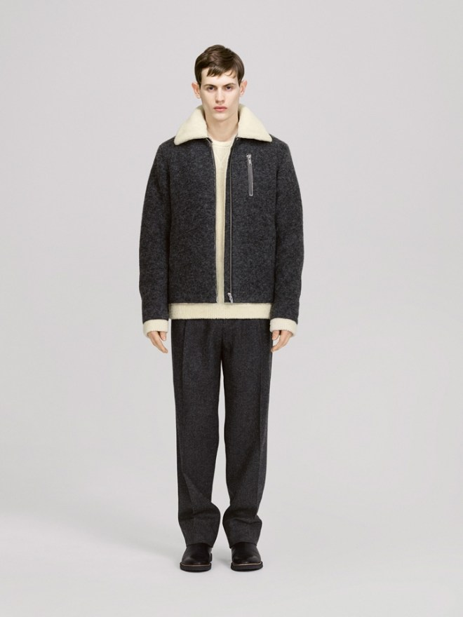 COS A/W14 Menswear Lookbook shearling wool blend fur trim aviator jacket wool blend smart trousers