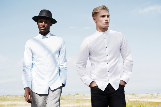 River Island Holloway Road A/W14 Menswear Lookbook white structured shirt black skinny jeans