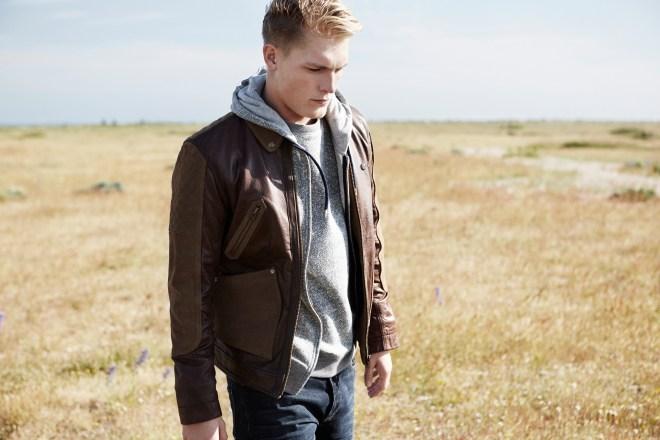 River Island Holloway Road A/W14 Menswear Lookbook Brown leather bomber jacket grey hoodie blue jeans denim trousers