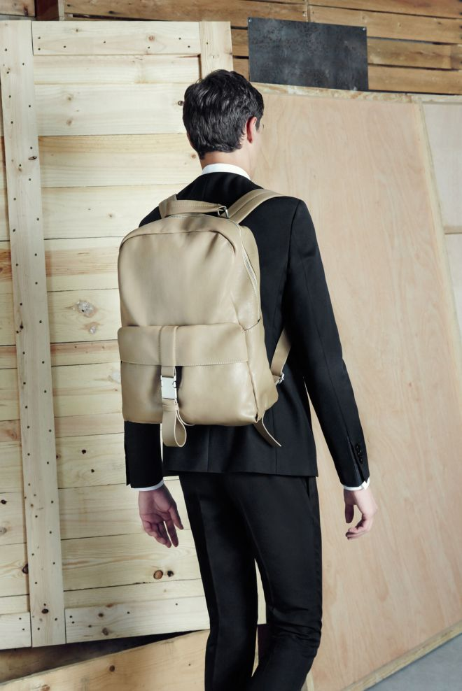 Zara A/W14 Menswear Lookbook Update leather backpack holdall bag mens black fitted slim fit suit jacket tailoring fomalwear