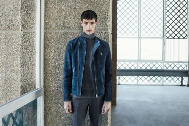 Zara A/W14 Menswear Lookbook Update blue suede biker jacket grey fitted trousers grey knitted rollneck