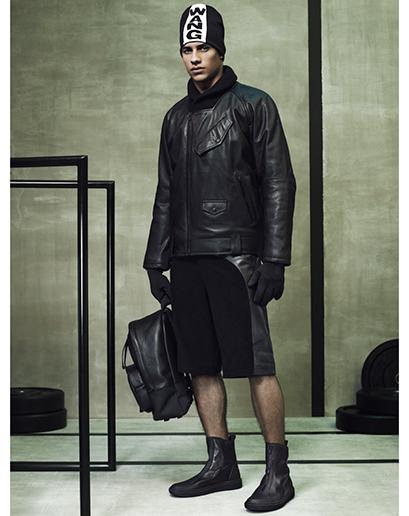 Alexander Wang For H&M Full Menswear Lookbook #AlexanderWangxHM leather aviator jacket leather shorts sports hat bag leather menswear mensfashion