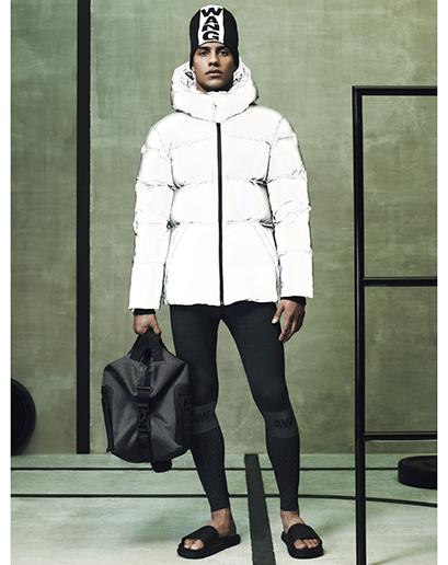 Alexander Wang For H&M Full Menswear Lookbook #AlexanderWangxHM white puffa coat leather trousers leggings bag