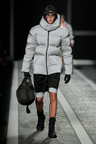 Alexander Wang For H&M Menswear Collection #AlexanderWangXHM puffa jacket coat mesh shorts jeggings meggings sports black leather accessors outfit