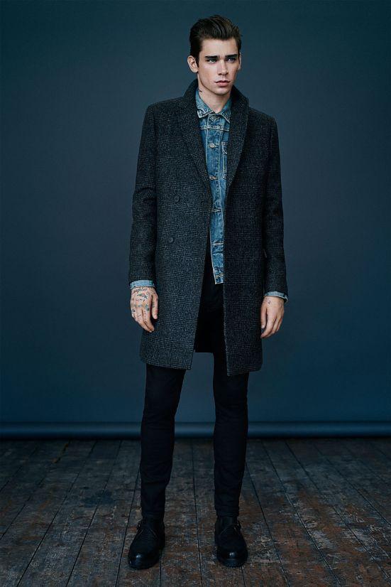 Allsaints October A/W14 Menswear lookbook. denim jacket wool blend coat peacoat mac jacket overcoat outerwear