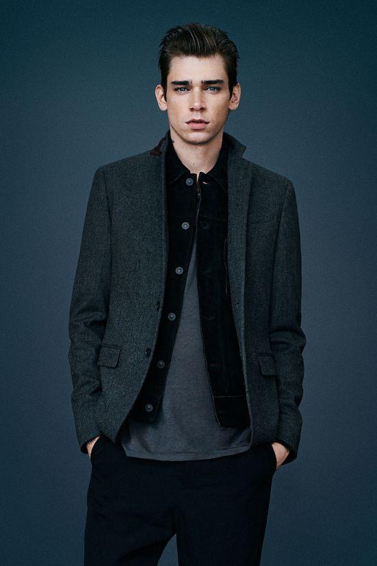 Allsaints October A/W14 Menswear lookbook. leather jacket denim jacket quit jacket blazer tailoring tweed wool
