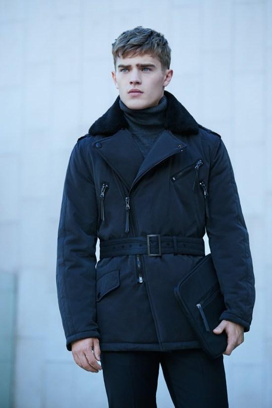 HE By Mango A/W14 November Lookbook Update. fur trim jacket zip detail all black menswear shopping fashion online highstreet mango zara