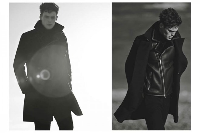Reiss A/W14 'Cover Story' Menswear Lookbook. menswear mensfashion jacket outerwear black leather shearling biker jacket male model