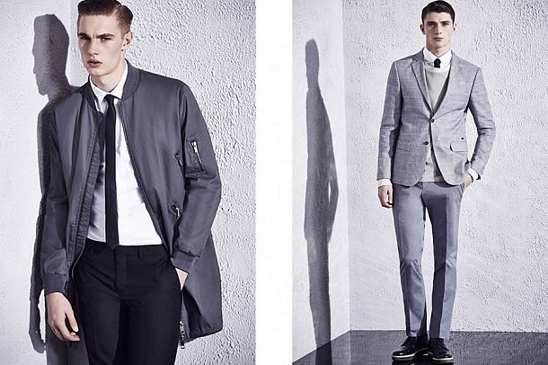 River Island S/S15 Menswear Lookbook Style fashion suiting tailoring black fitted skinny suit longline bomber coat fashion style menswear mensfashion outfit lookbook collection instagram