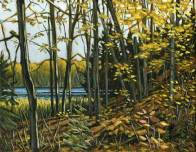 'Autumn Near Salerno Lake No. 6 - Study' (2011) by Jamie Kapitain. Oil on canvas board, 8x10 inches.