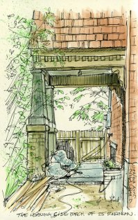 'The Leaning Side Porch' by Jamie Kapitain. Ink and watercolor.
