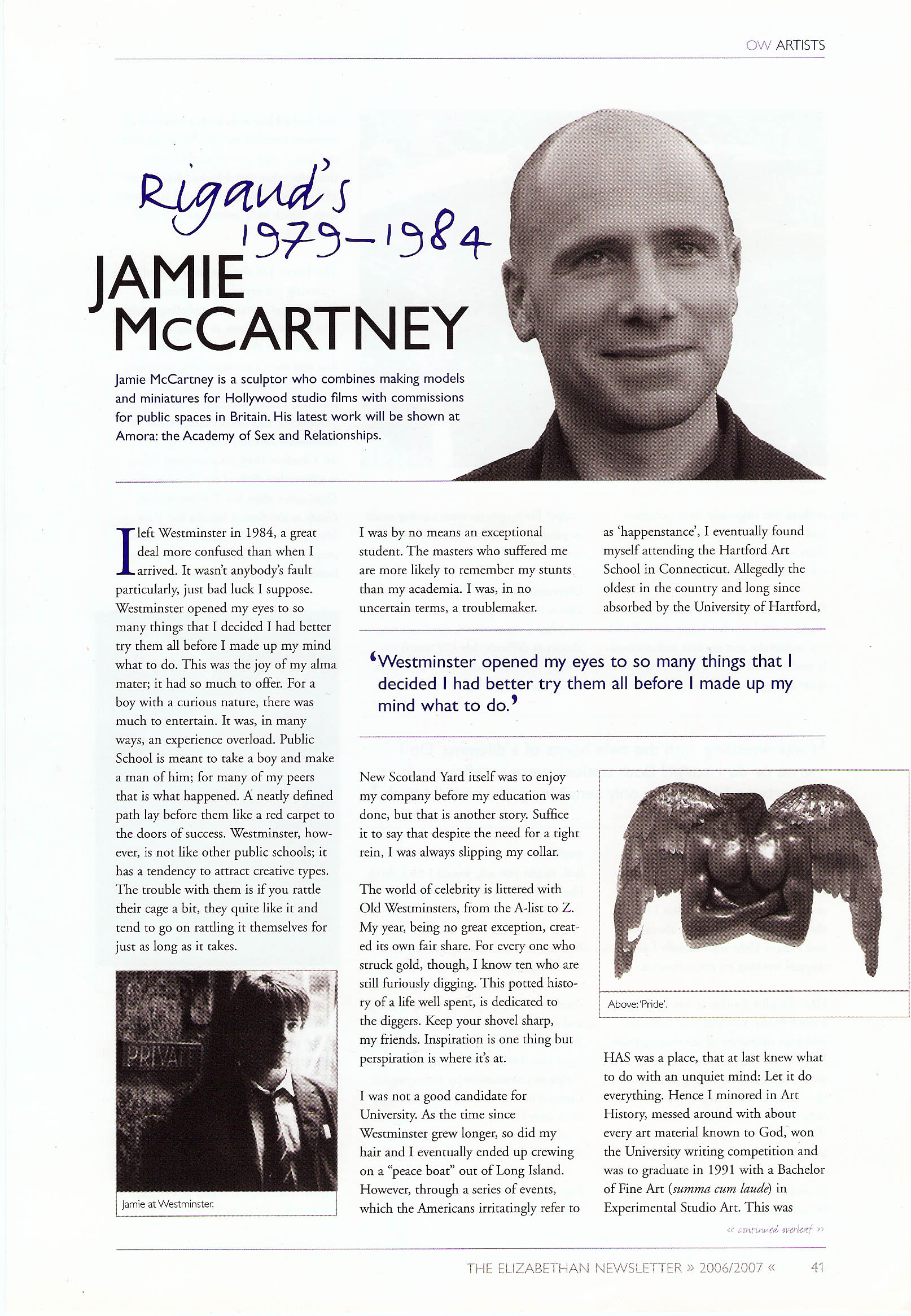 Elizabethan Magazine Jamie McCartney