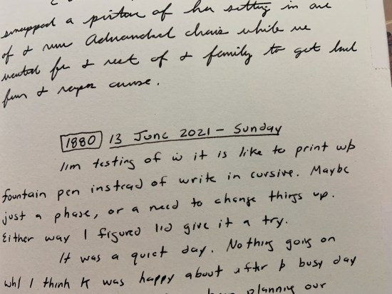 A sample showing my transition of cursive back to print writing.
