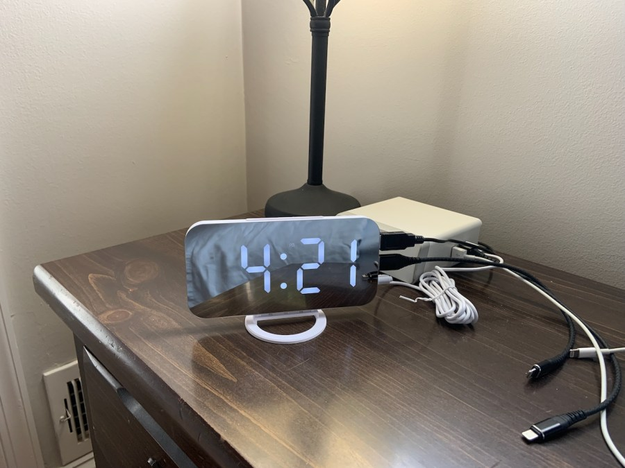 my new alarm clock on my nightstand