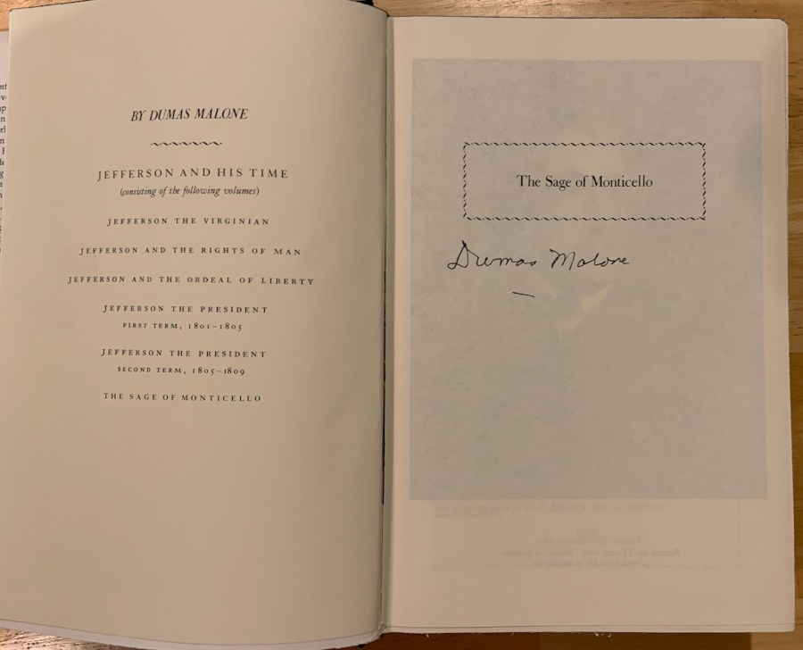 signed copy of The Sage of Monticello