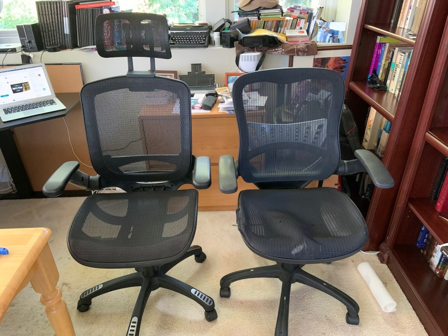 a side-by-side image of the new and old chair.