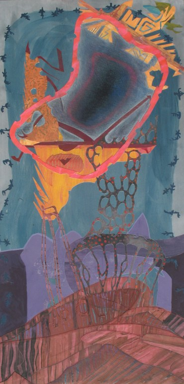 """A Beckoning Movement For The Living Soil, acrylic, cut paper, colored pencil and brush-tip marked on panel, 24"""" x 48"""" 2014"""