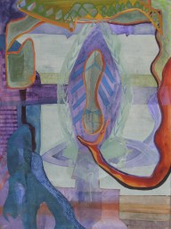 """An Aggressive Display of Independence, acrylic, colored pencil and cut paper on paper, 22""""x30"""" 2011$650"""