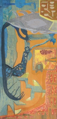 """Middayt at the Extraction Site, acrylic cut paper, colored pencil and brush-tip marker on panel, 16"""" x 32"""" 2014 $425"""