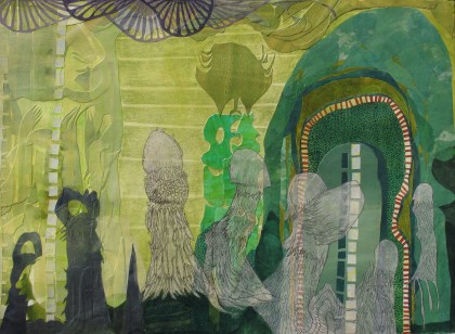 """On the Quest for Latent Plant Thought, cut paper, acrylic and colored pencil on paper, 22"""" x 30"""" 2013 $650"""