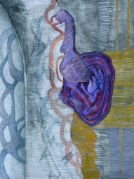 "Evening in the Measuring Chamber, gouache, colored pencil and graphite on paper, 22"" x 30""
