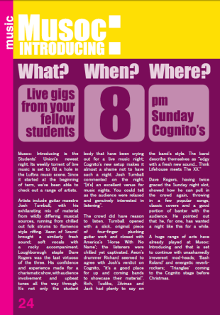 Article written to advertise Musoc Introducing: