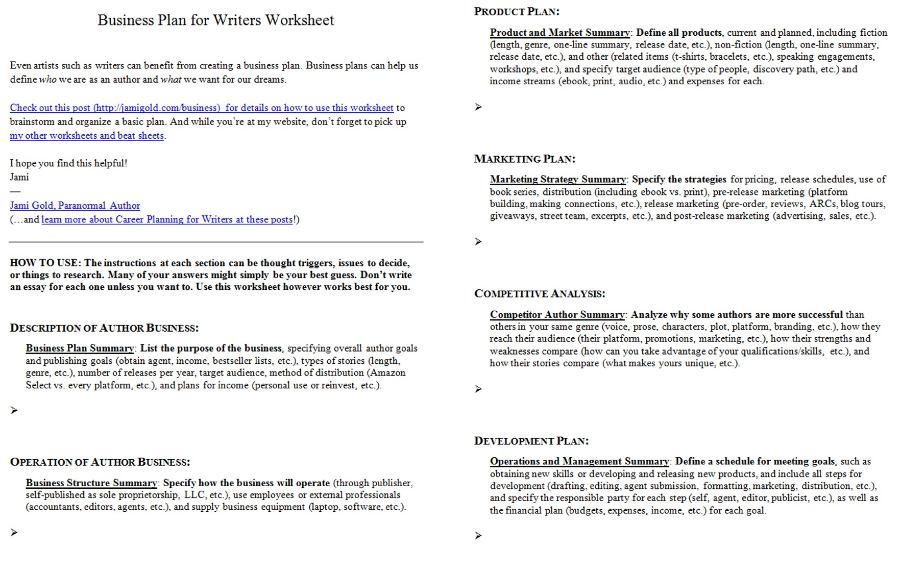 Worksheets For Writers