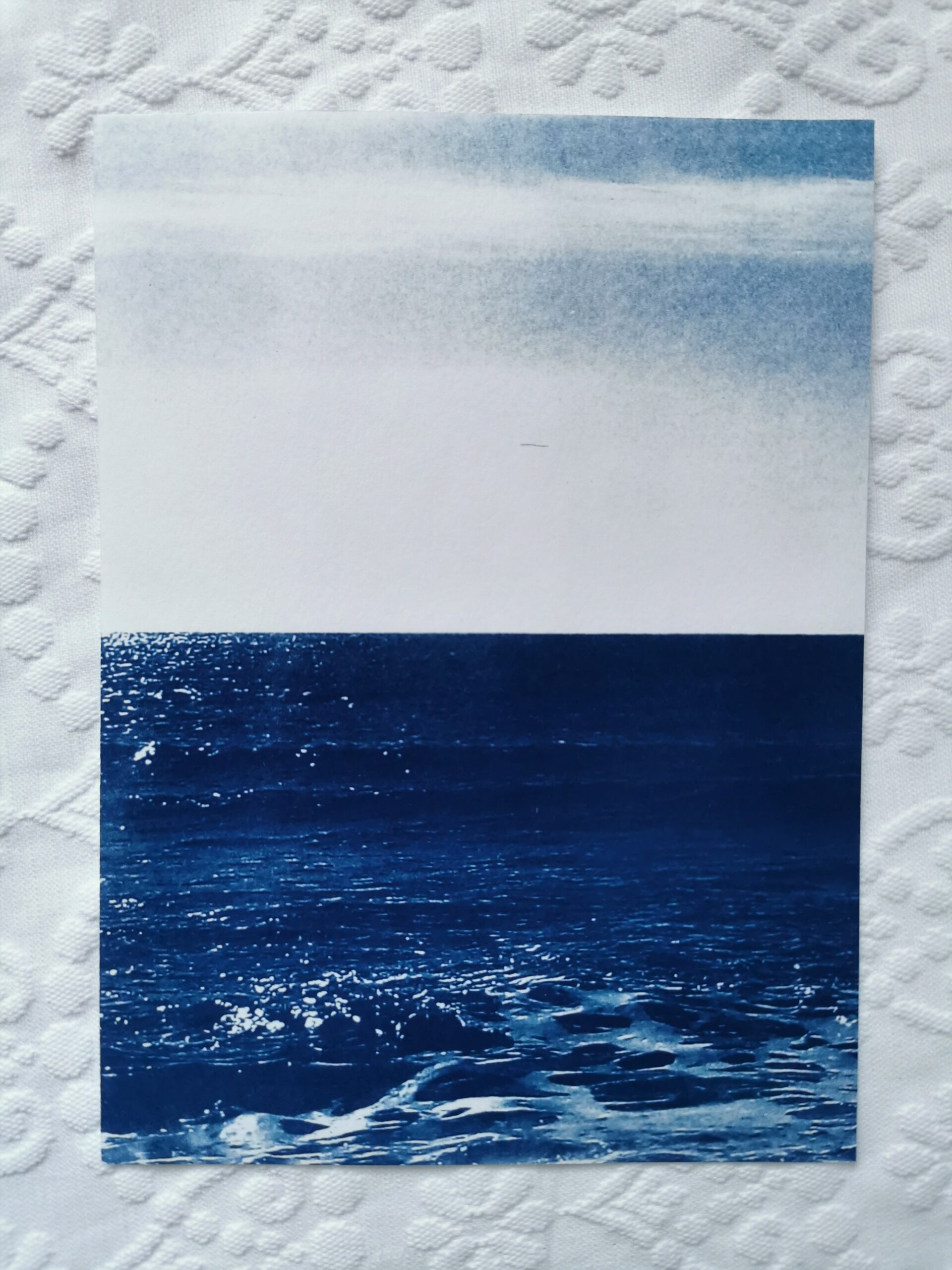 print from photographic negative printing with the ancient technique of cyanotype or printing with the sun