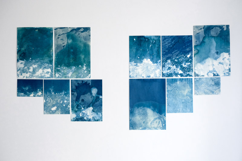 Jamila Baroni artist project with the ancient technique of cyanotype or printing with the sun