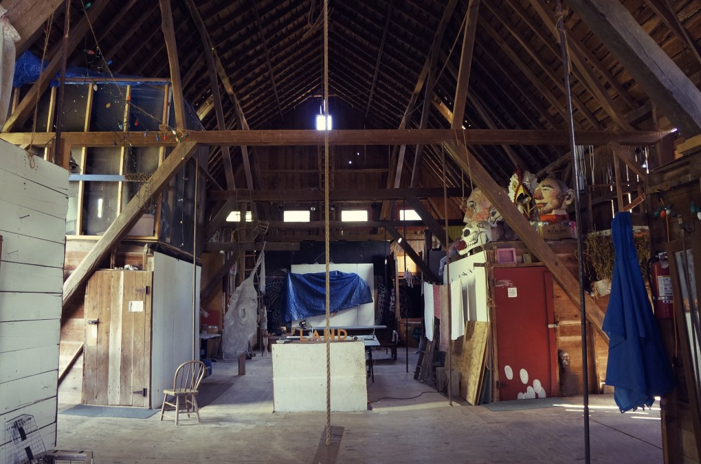 The second floor of the barn-- take note of the rope swing. That little white box is my bedroom, and the box above it is the reading room.