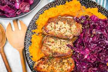 pan seared pork chops with German red cabbage and butternut squash