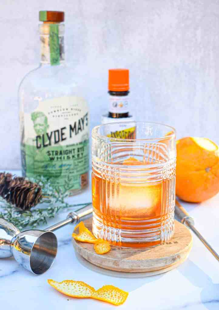 Breakfast-time old fashioned using Clyde May Rye Whiskey from The Jam Jar Kitchen