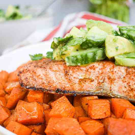 Chili Lime Salmon with Mexican Spiced Sweet Potatoes and Cucumber Avocado Salad