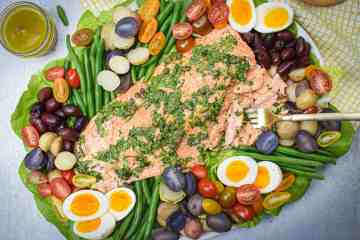 Whole30 Salmon Niçoise Salad on a large platter with Bluehouse Salmon