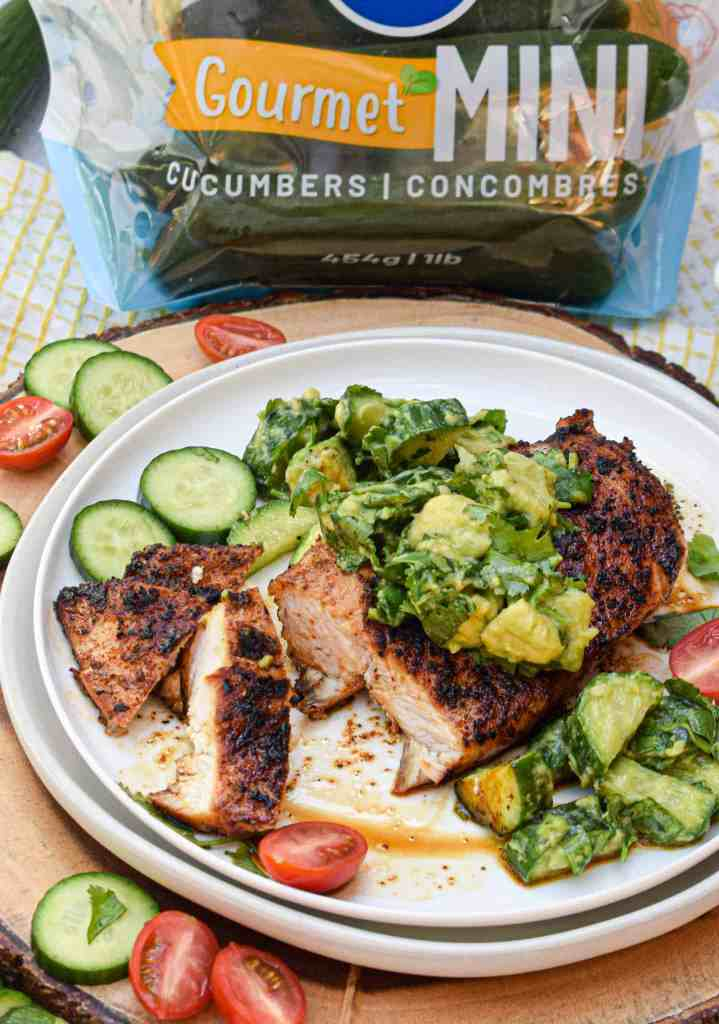Whole30 Chipotle Lime Chicken with Cucumber Avocado Salad Pure Flavor Mini Cucumber