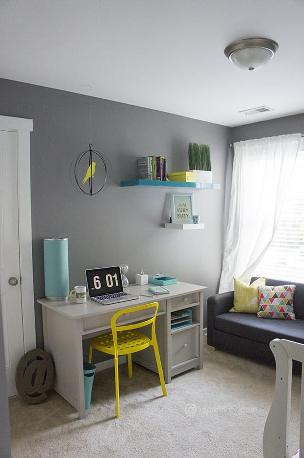 Modern Office Makeover  Grey Turquiose and Yellow