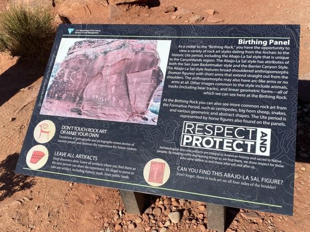 Birthing Rock Information. Moab Utah