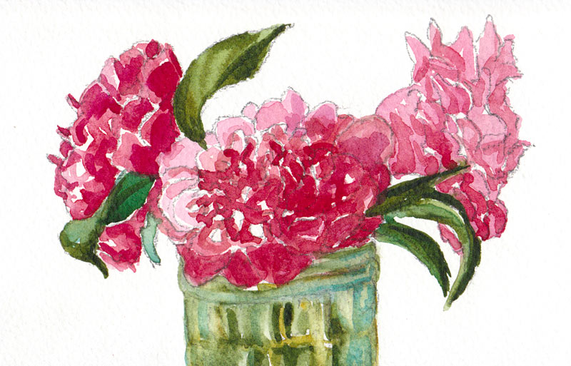 """Camelia #3, Watercolor on paper, 4x6"""""""