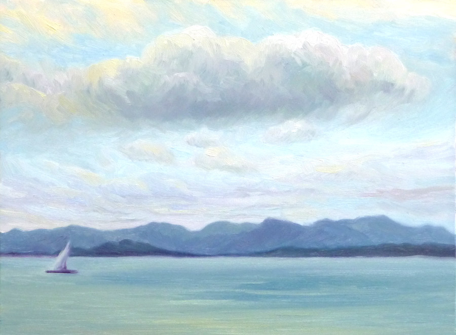 Cloudy Bay, View from China Camp, oil on panel, 9x12