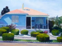 Annex Smurf House, oil on Gessobord, 9x12""