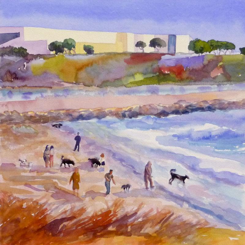 "Albany Bulb Beach, Watercolor 12x12"""