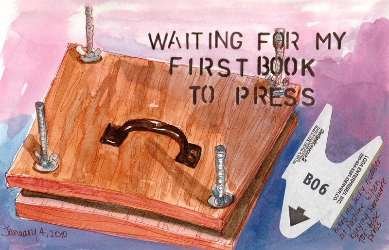 Waiting for the Book to Press, mixed media