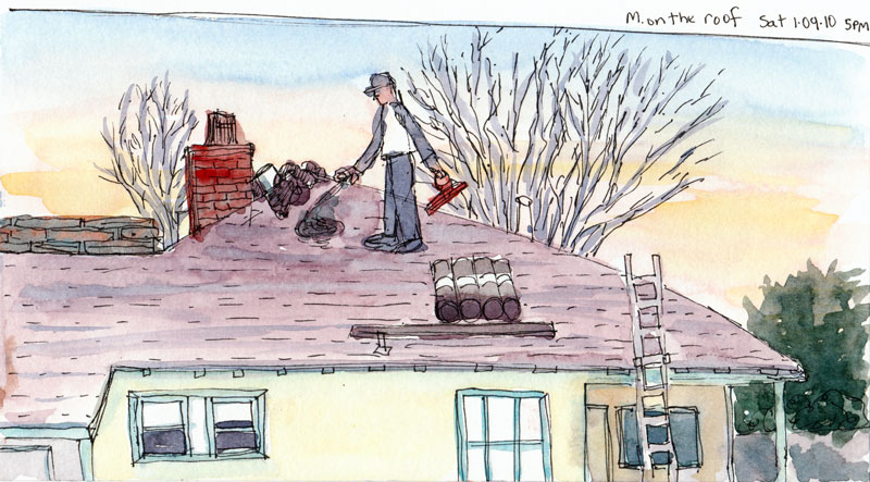 Matthew working on the roof, ink & watercolor