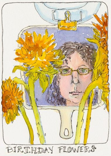 Birthday Flowers Self Portrait, ink & watercolor, 7x5""